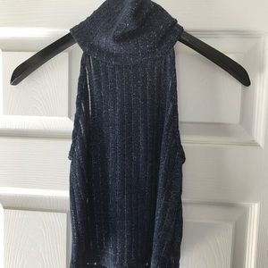 Zara TRF Blue Glitter Turtle neck Halter top